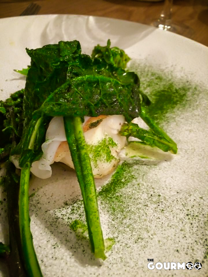 Monkfish, cuttlefish, squid and kale