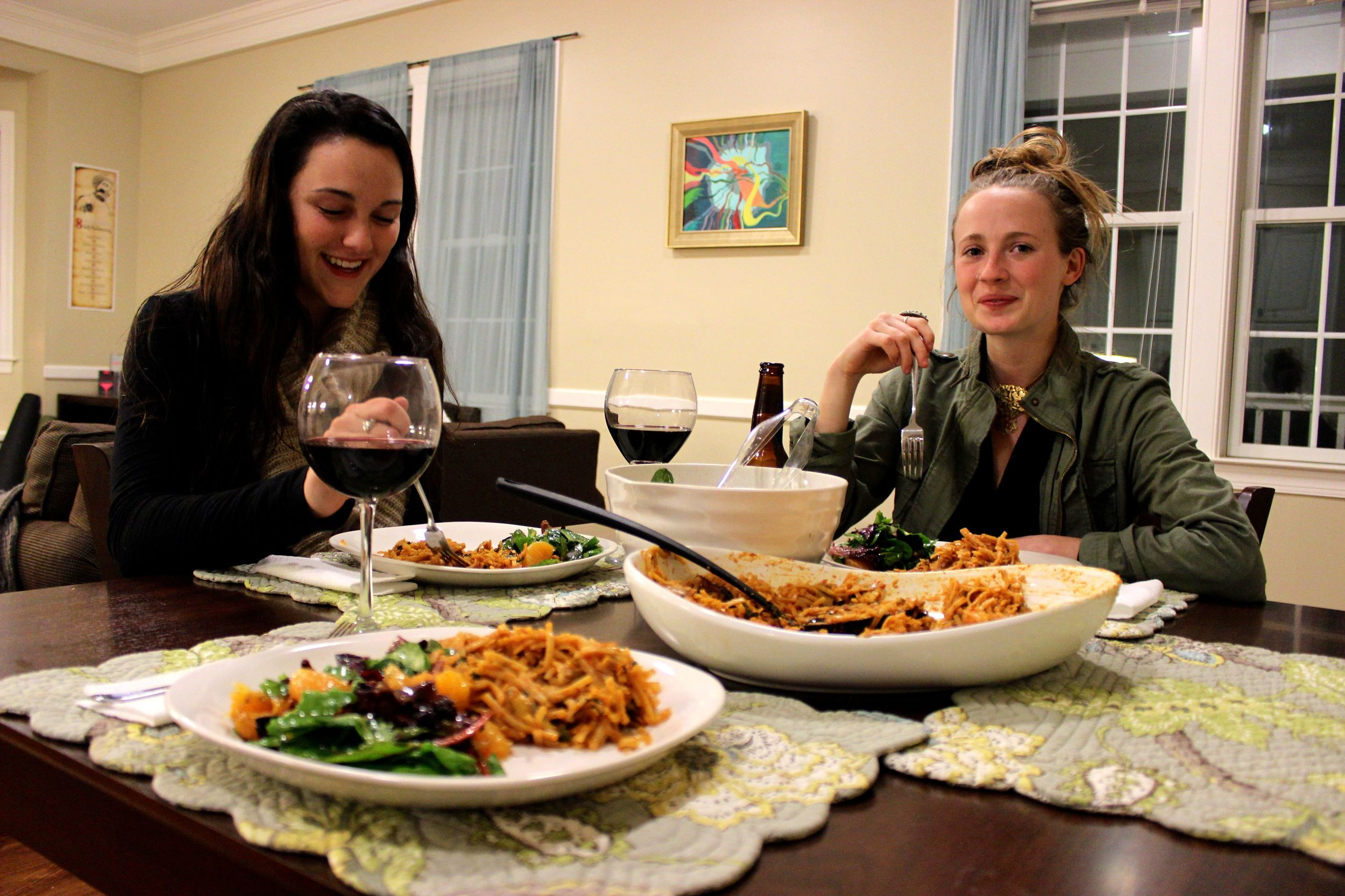 These are my friends Olivia (left) and Alex (right). I love cooking for my friends and having them over for dinner and wine. Best Friday night fun :) I made them spicy thai coconut noodles and a ginger citrus salad.
