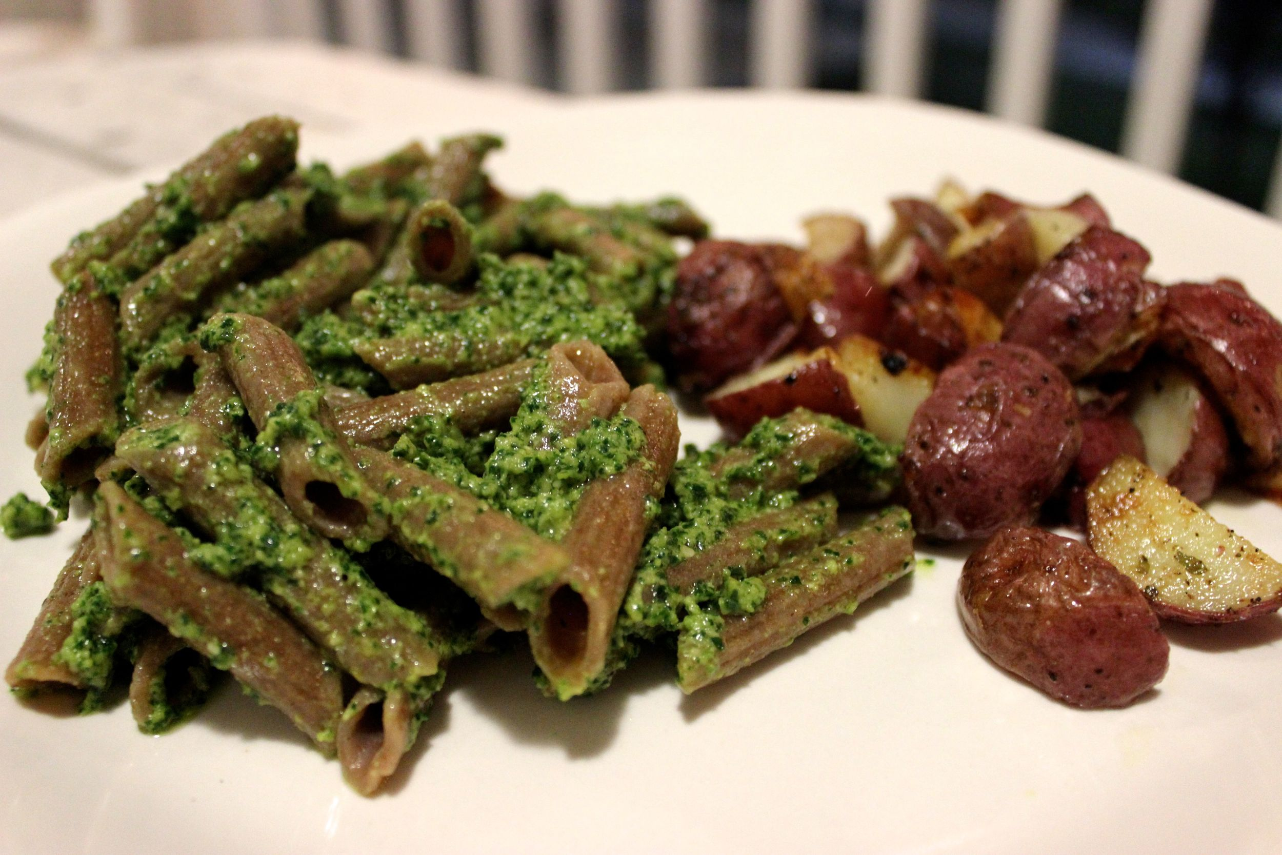 kale pesto and potatoes