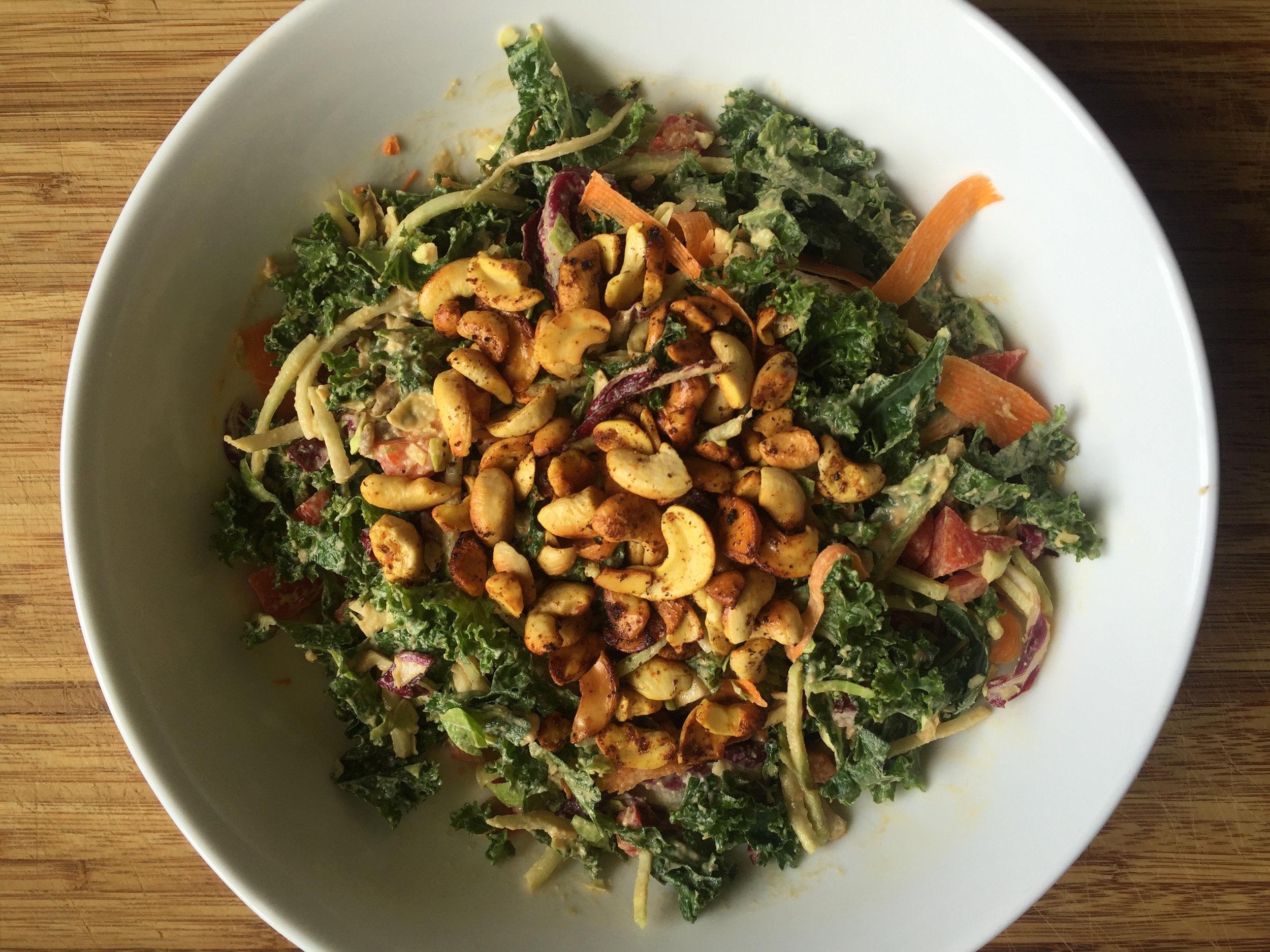 creamy cashew kale salad