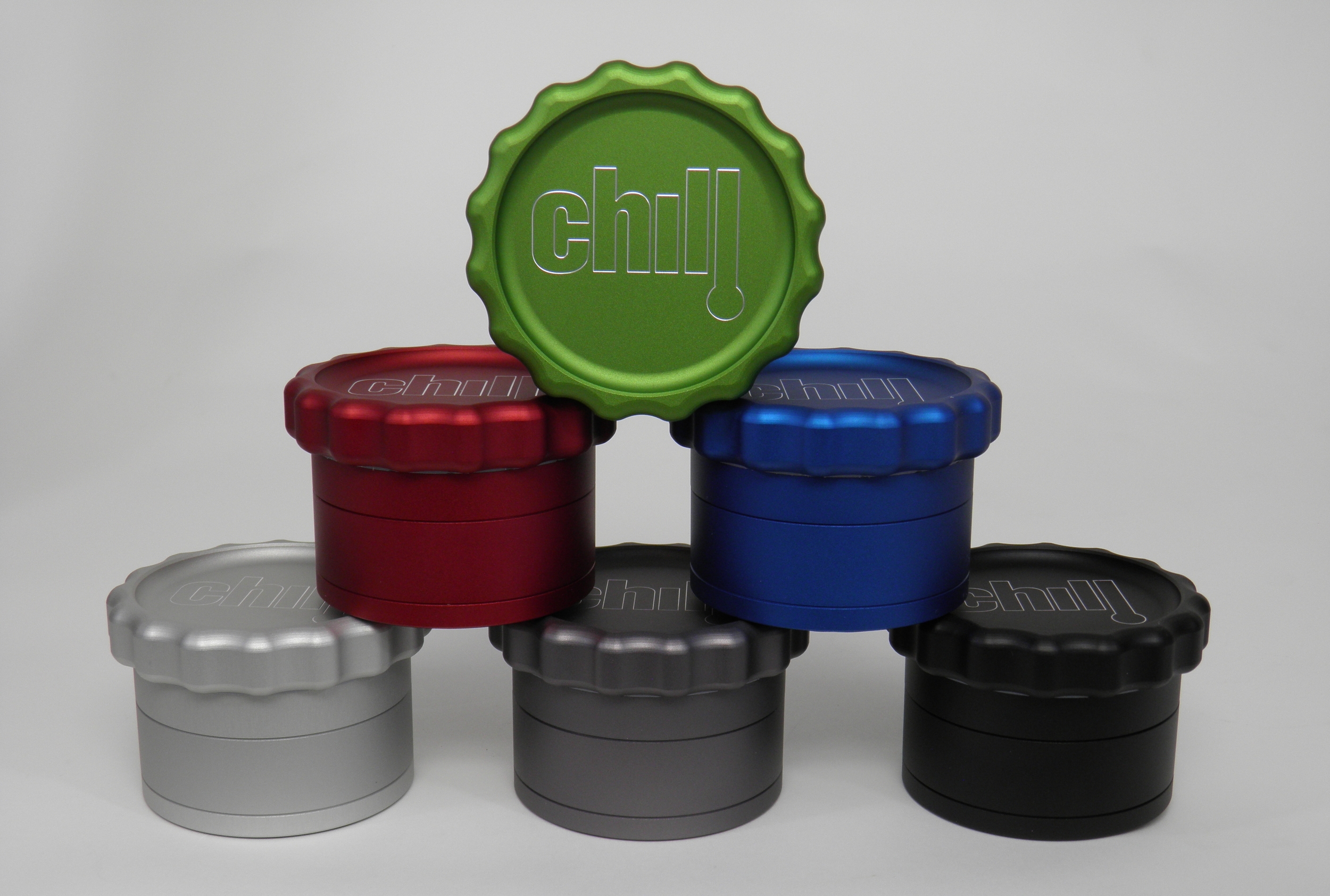 Grinder Colors: Monster Green, Bordeaux Red, Columbia Blue, Silver, Gray, & Black (colors may vary slightly from photo or from one lot to the next)