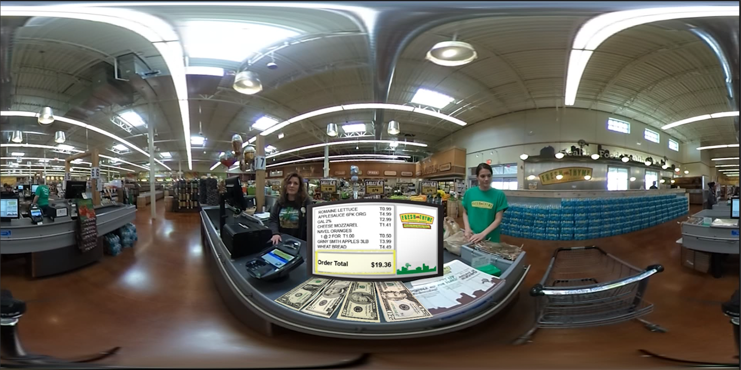 The register screen and bills were 2D images created in Photoshop and added to the 360 footage in Premiere Pro.