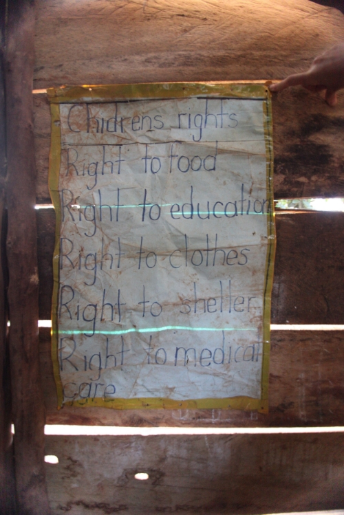 This poster hangs in the Primary 2 class at Mugalula Community School reminding the students of their basic rights as people in this world.
