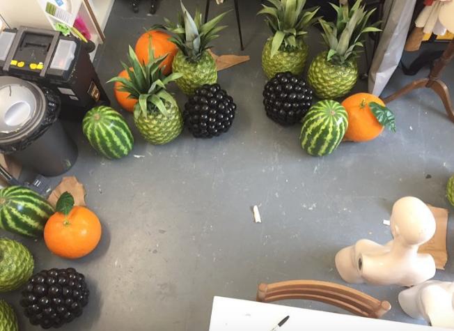 giant fruit mannequin heads