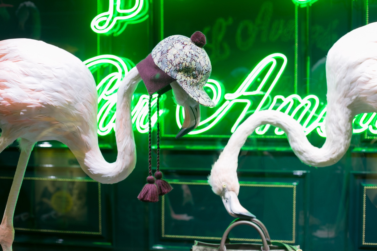 Sculpting, molding, casting, painting and feathering of 9 flamingo sculptures