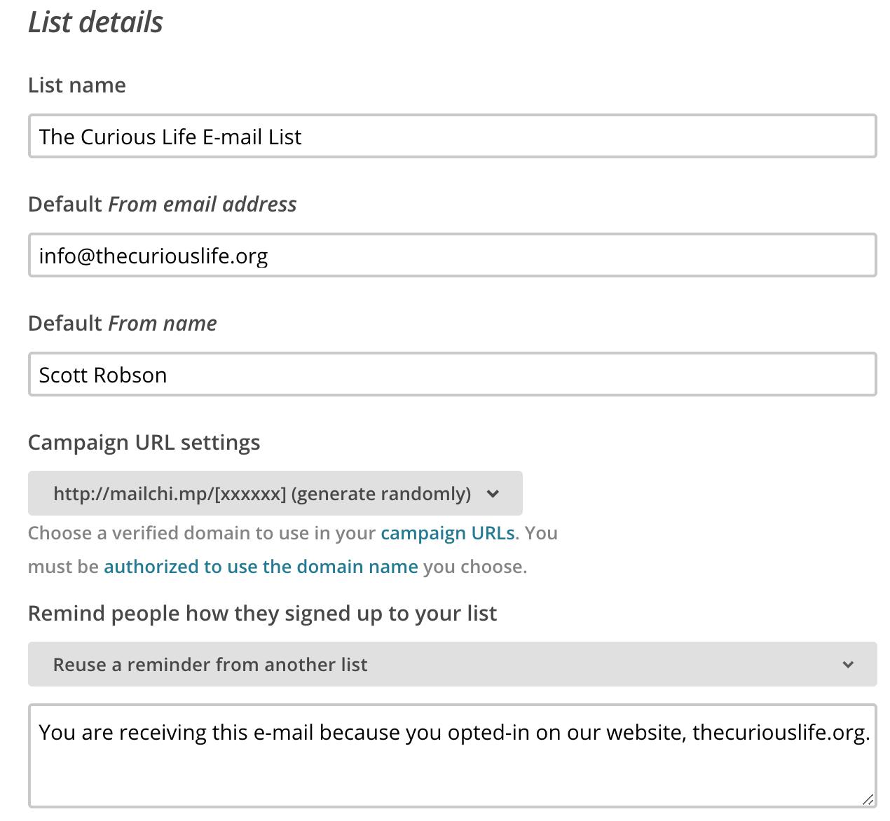 Mailchimp basics list details The Curious Life