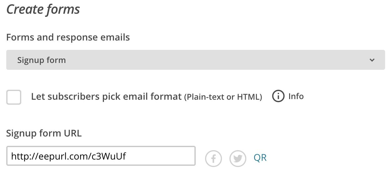Mailchimp create signup form