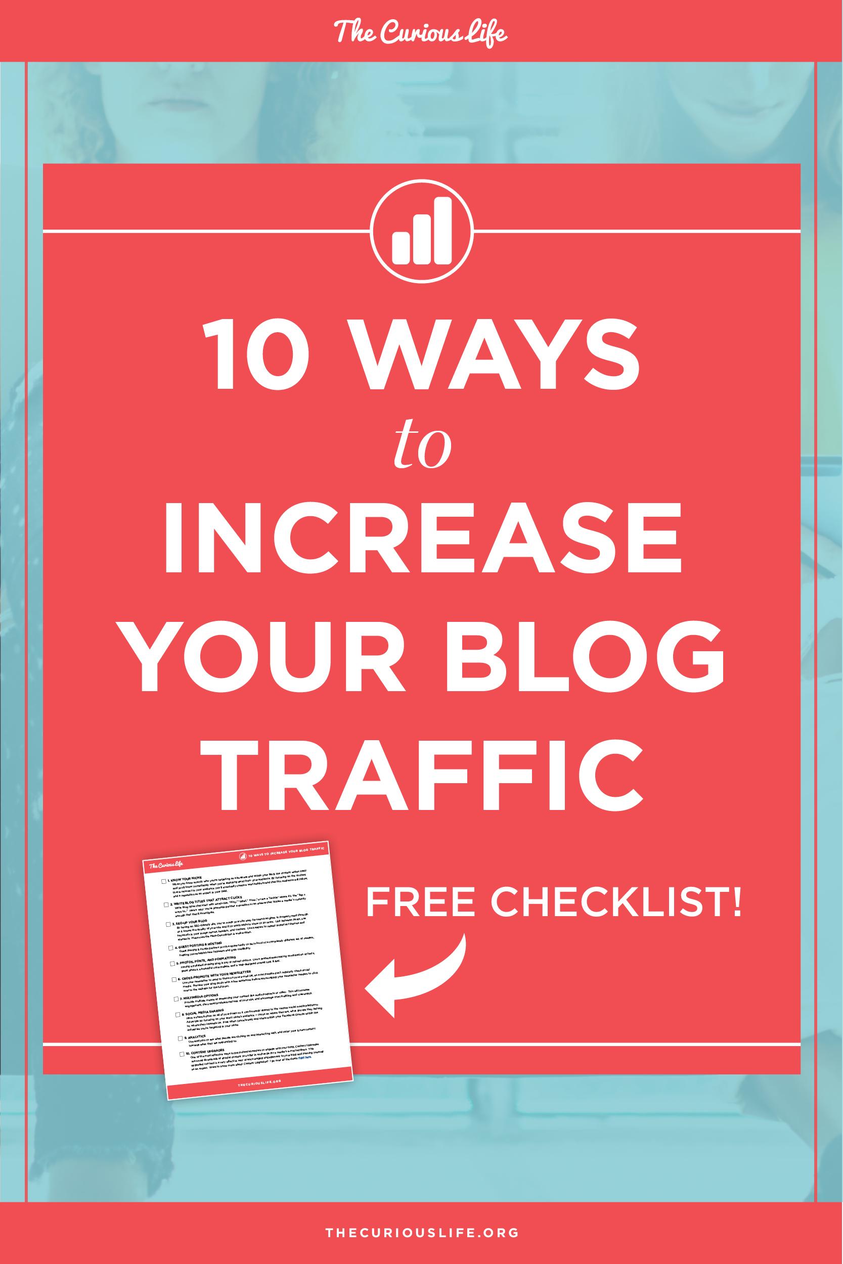 Increase Blog Traffic Increase Web Traffic b2b blogger free checklist