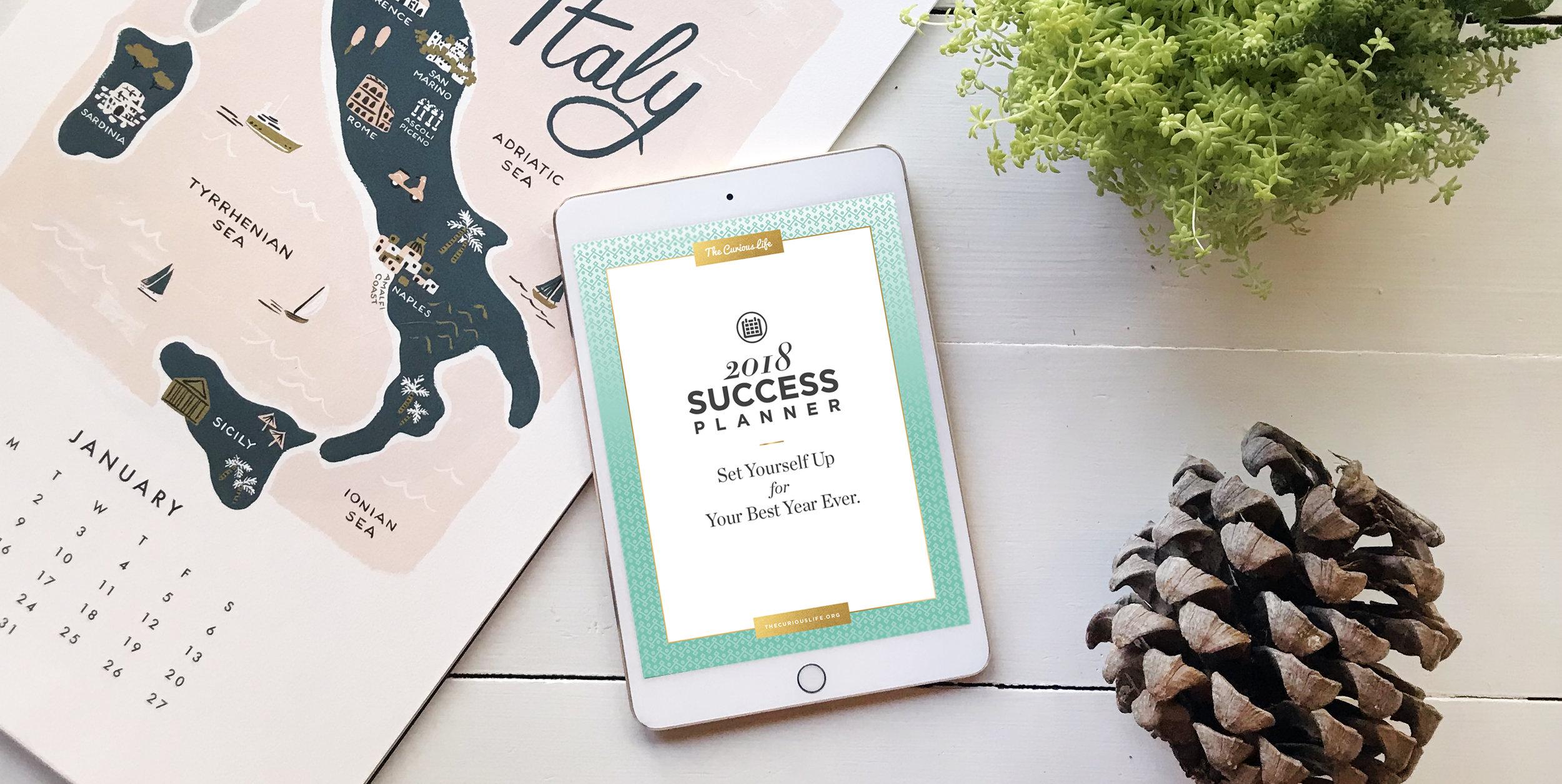 2018 Calendar, 2018 planner, the curious life, success planner