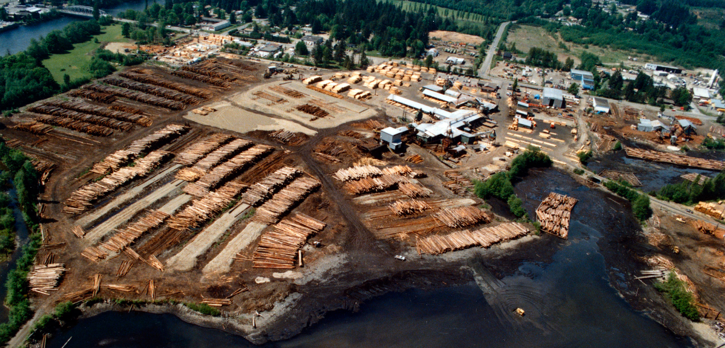 The Campbell River estuary on Vancouver Island was an ideal location for a sawmill—but heavy industrial use took an obvious toll on the ecosystem. Photo courtesy of the Museum at Campbell River (catalog number 1245)