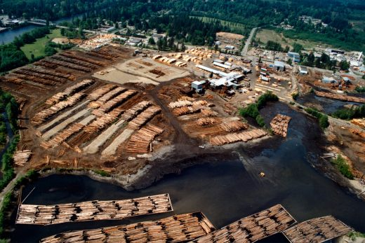 BEFORE: By 1989, this swath of the Campbell River estuary had been an industrial site for more than 35 years. Photo courtesy of the Museum at Campbell River (catalog number 1245)