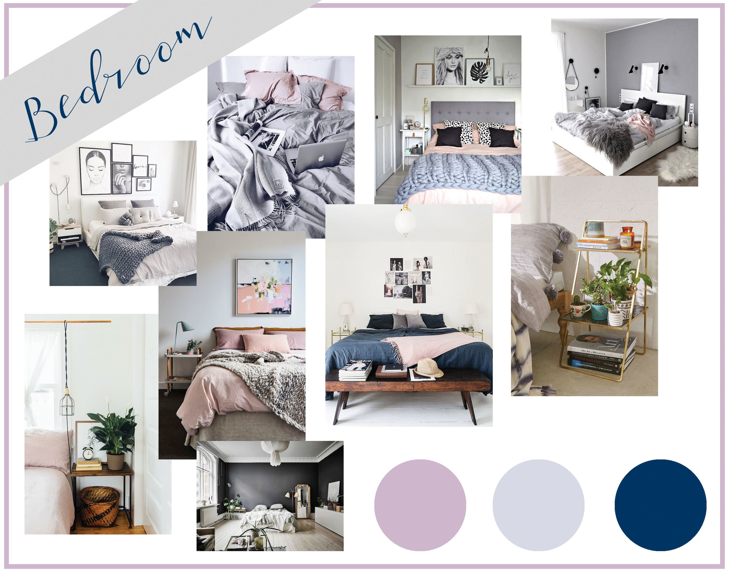 Blush. Gray. Navy. I am OBSESSED with this color scheme for a bedroom! I love the simplicity of it. These colors with light wood furniture and white accents, it is the perfect minimal bedroom.