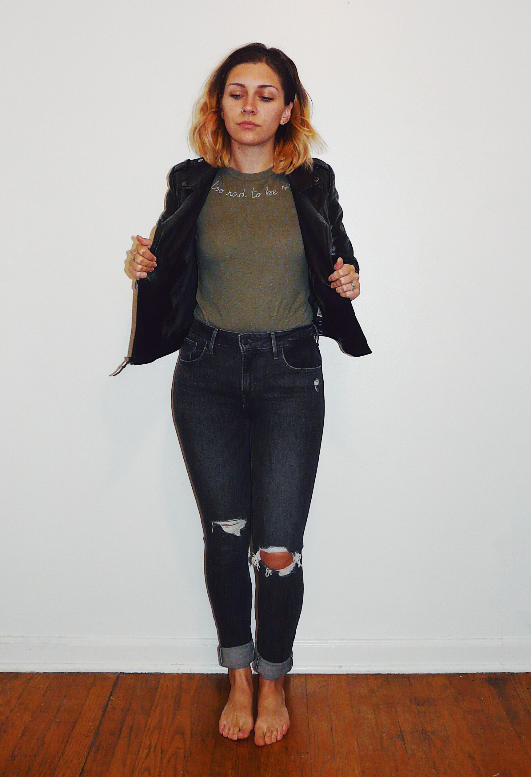 t-shirt and leather jacket style