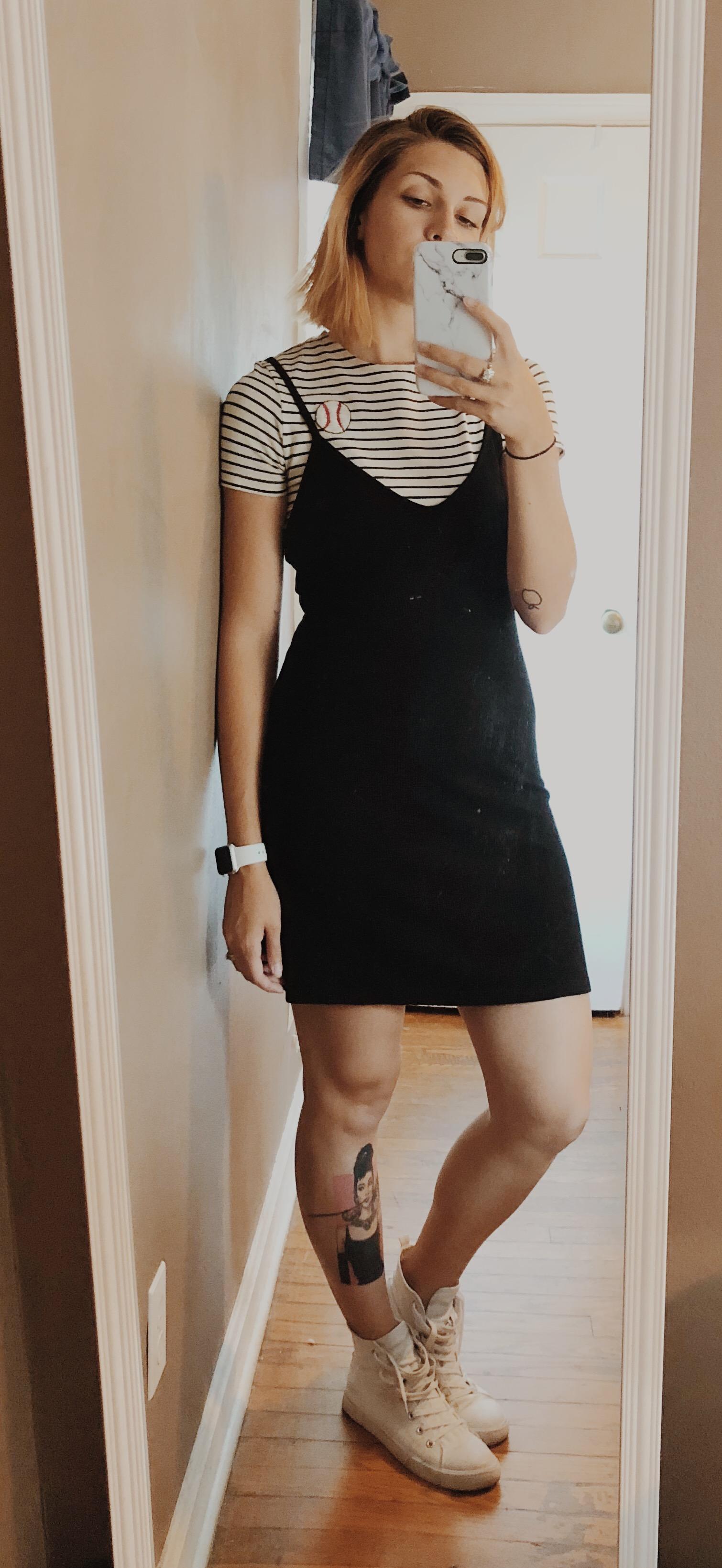 t-shirt dress layering