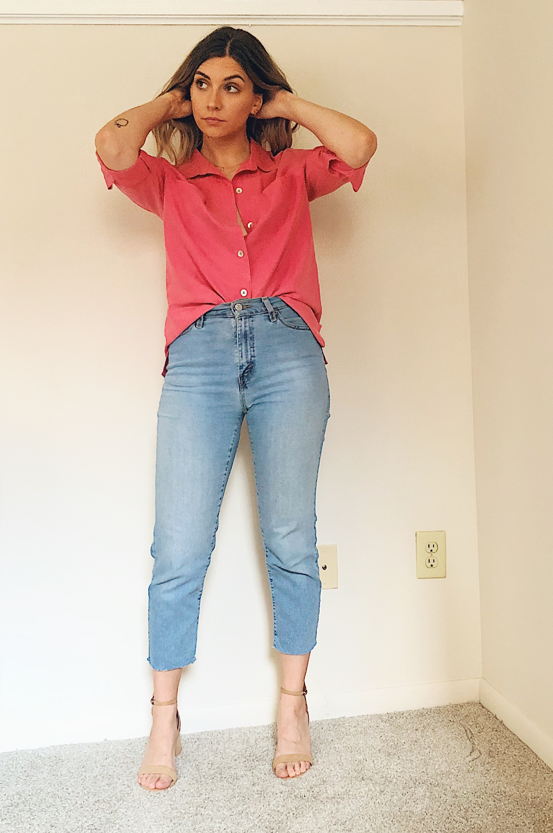 Blouse and jeans thrift outfits