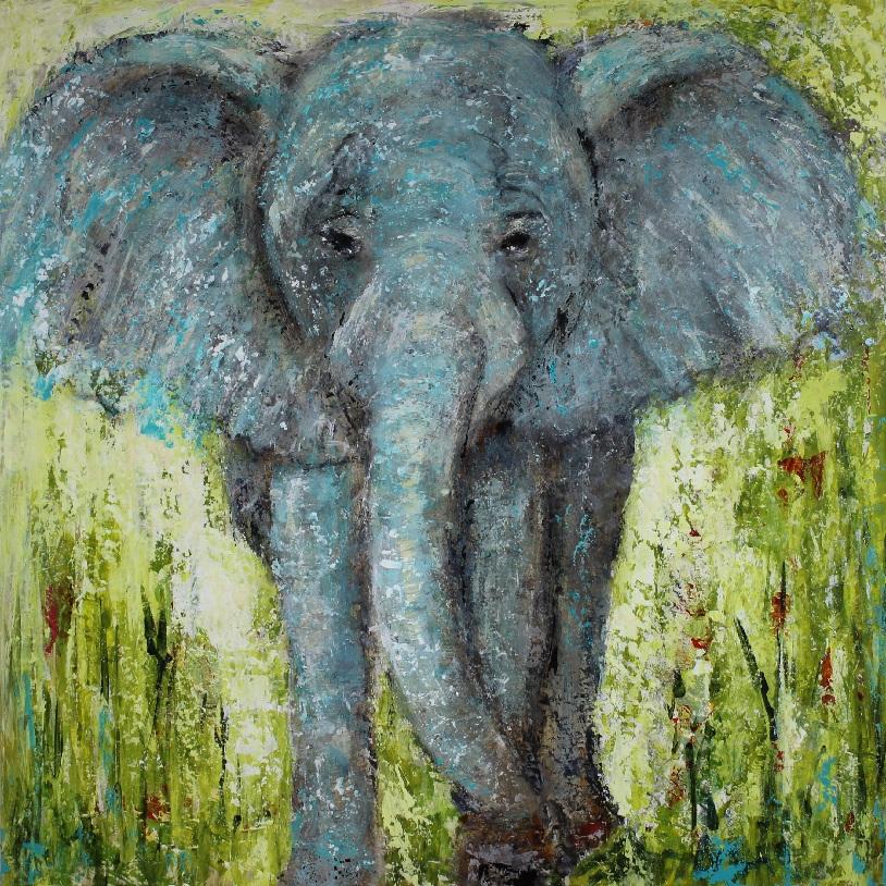 """Elephant Magic"" 24""x24"" mixed media painting on birch cradle panel. $425"