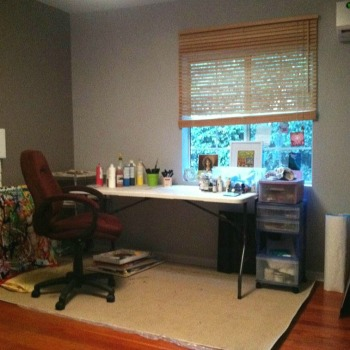 My very first art studio - in my dining room - 2013