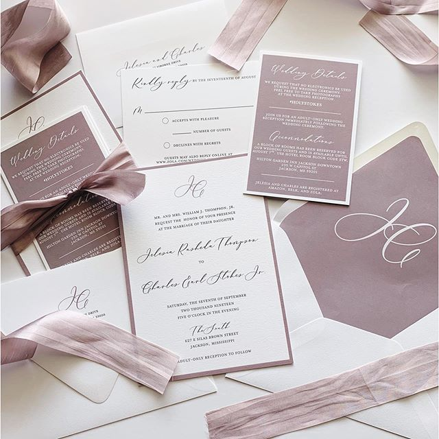 Happy wedding day to Jelesia and Charles! I absolutely LOVED this suite! It features my standard eggshell paper stock, a simple monogram design, silk ribbon, envelope liners and address printing #lovekenedie #weddinginvitations #weddinginvites #custominvitations #weddinginvitationsuite #invitationsuite #customenvelopeliner