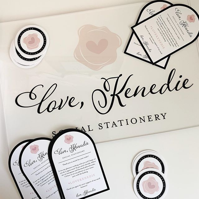New goodies! 😍 #lovekenedie #socialstationery #businesscards #acrylicsignage #packageinserts #branding
