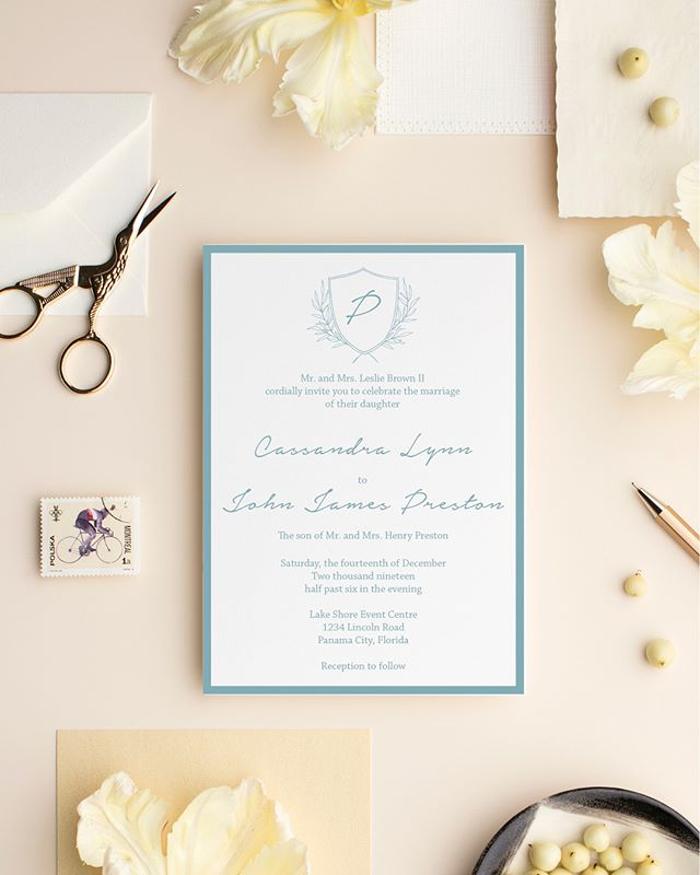 Crest has a sweet rustic touch perfect for a garden wedding. Part of the wedding collection!  #lovekenedie #weddingcollection #invitationsuite #weddingstationery #weddinginvitations #paperlove #panamacitybride #blackbrides #panamacityweddings