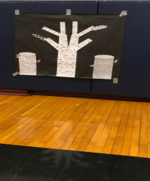 Above Image: King School Acts of Kindness Tree before the students added their acts of kindness leaves.