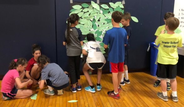 Above: Cooperative kids working together to assemble the Kindness Tree.