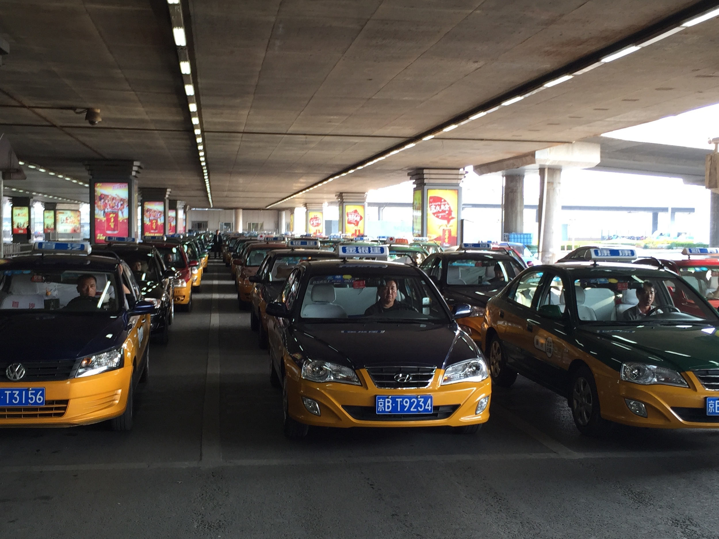 Taxi's lined up at Beijing Airport