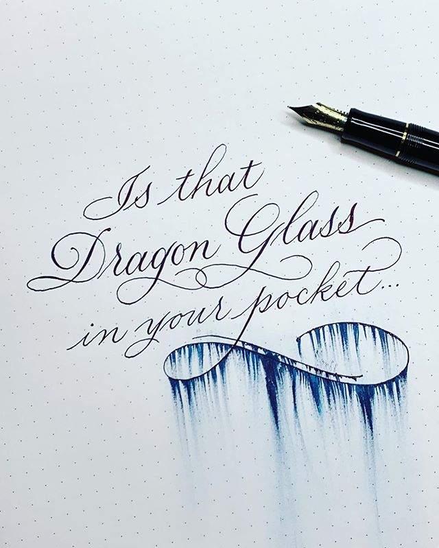 I'll let you finish the joke in the comments. Hope you're all stocked up on Dragon Glass! Fifteen minutes until the season 8 premiere - that 22 months really flew by, didn't it? The answer is no. No it didn't. But here we are . #gameofthrones #got8 #calligraphy #decalex