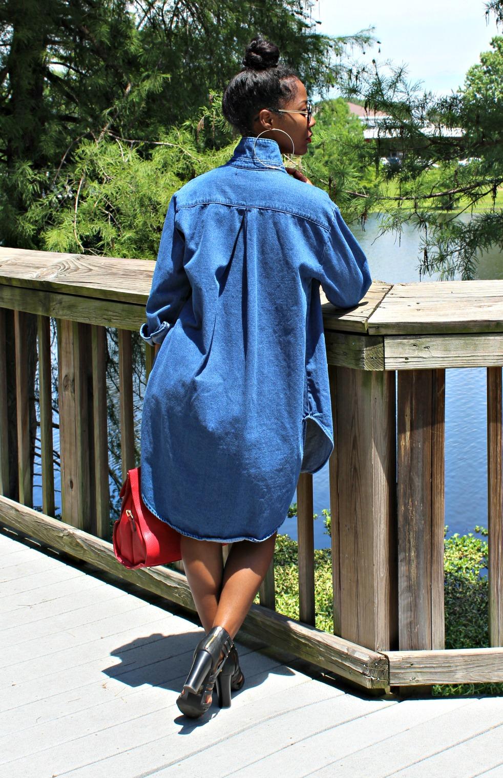 Oversize blue jean shirt dress