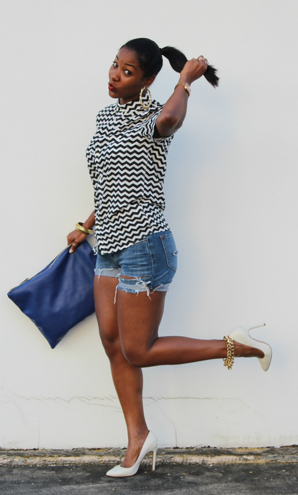 H&M Men's Shirt, cut-off shorts, Aldo Pumps