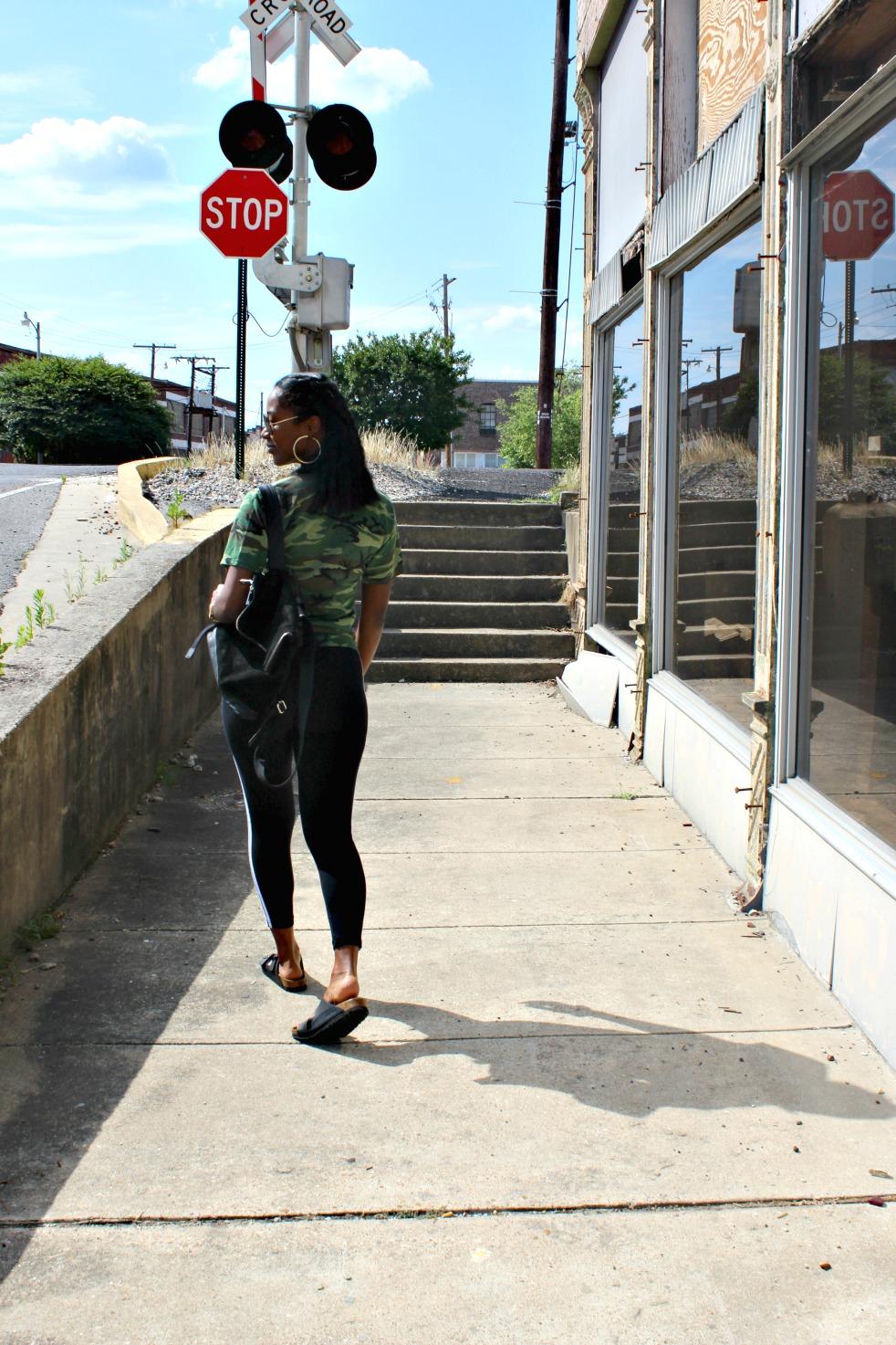 Urban Renewal Recycled Camo tee  , Adidas Tights, Birkenstock sandals