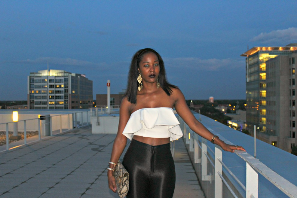 American Apparel Disco Pants + Swank Blue Shane Crop Peplum Top