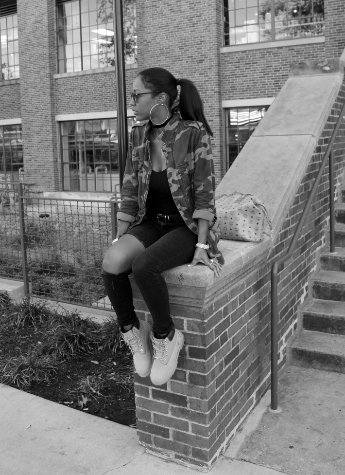 Army Jacket and Timberland Boots