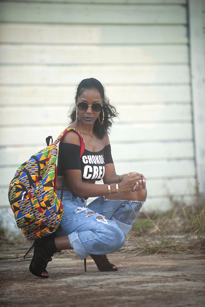 Kente cloth book bag