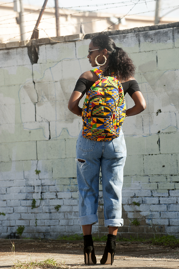 African Print Book Bag