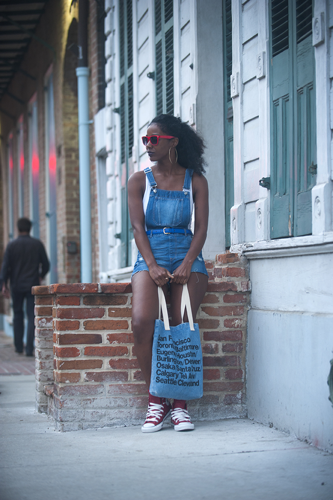 H&M Overall Shorts, American Apparel Bag, Red Leather Converse