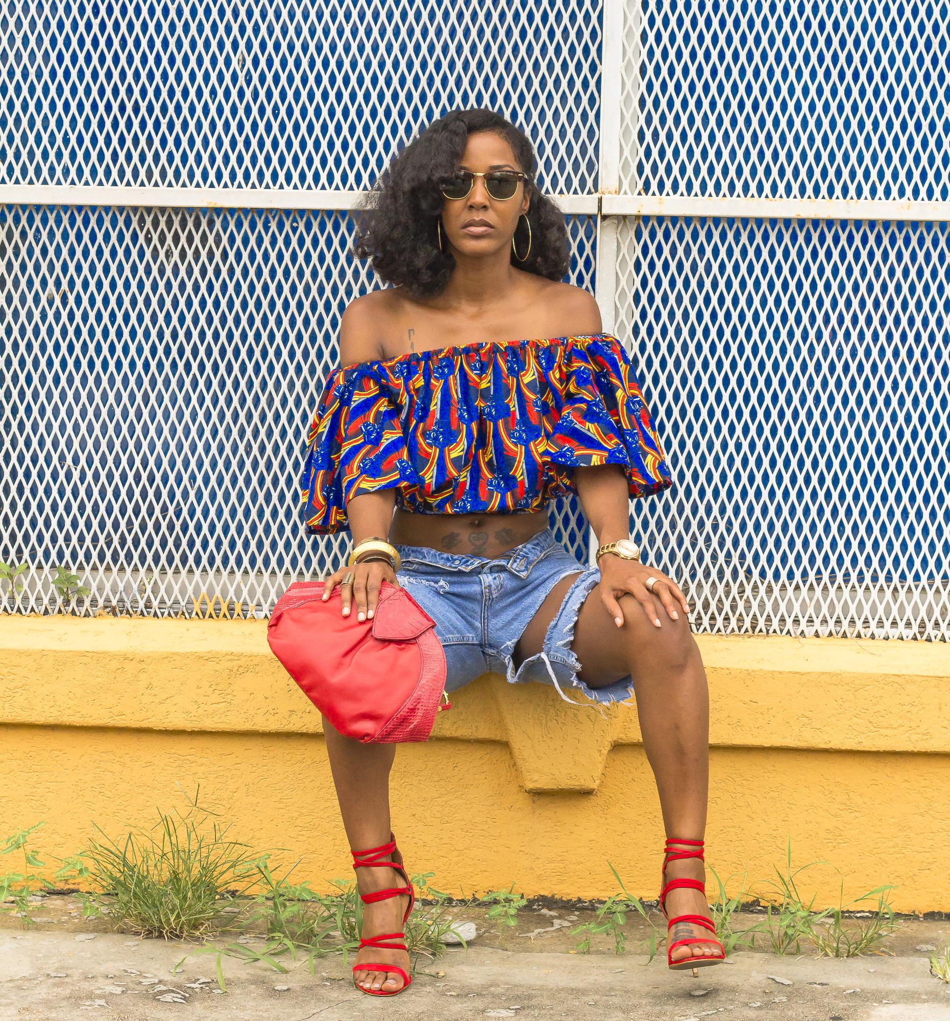 African Print Aafin Off Shoulder Top