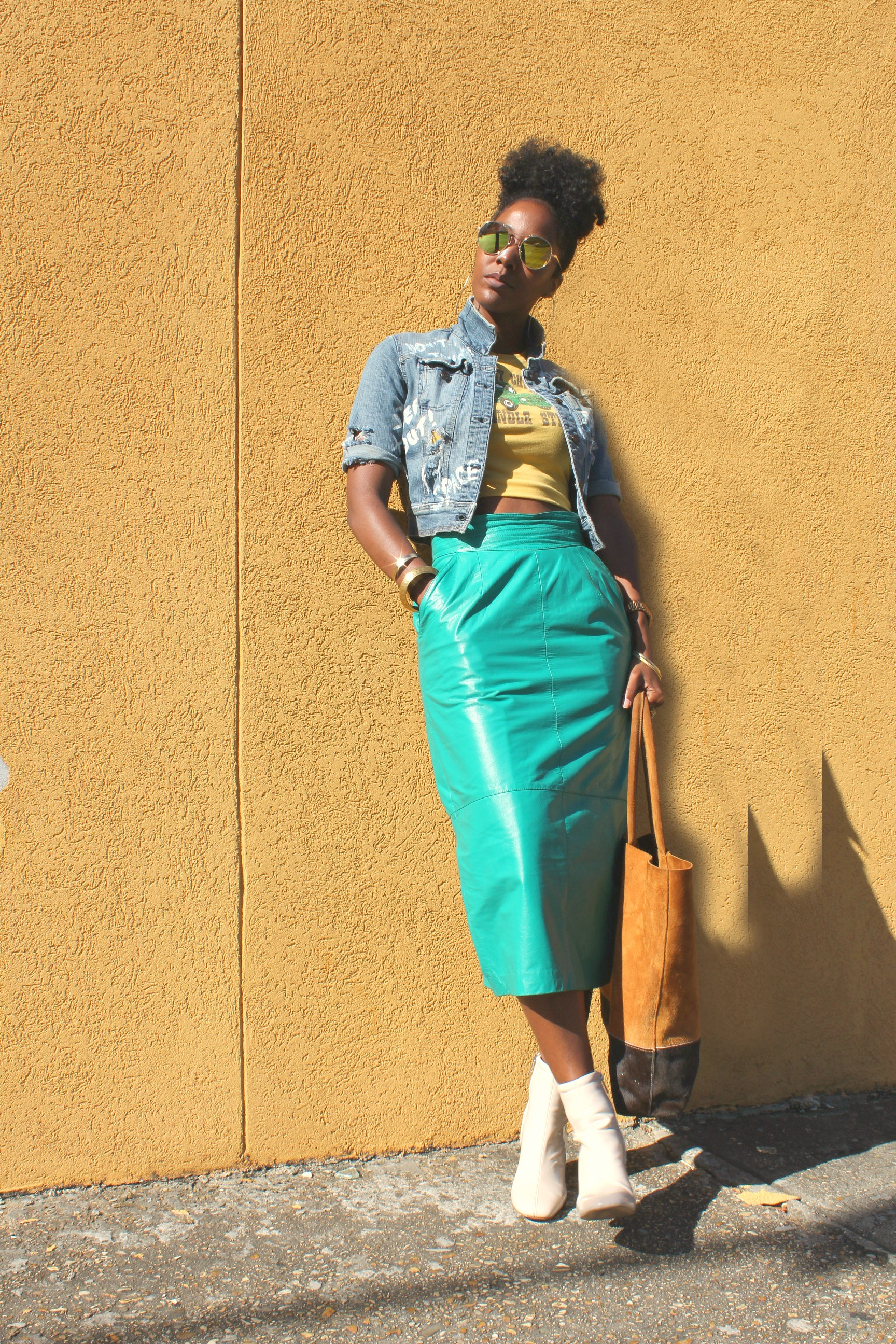 Vintage long leather skirt