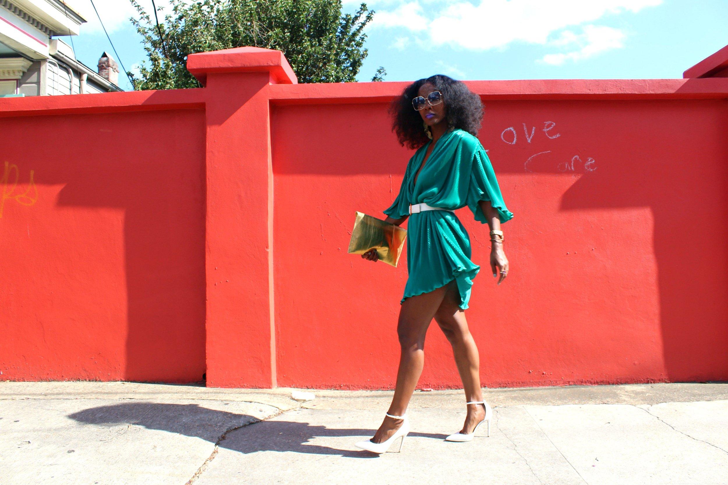 Aldo Staycey White Heels + Vintage Teal Dress