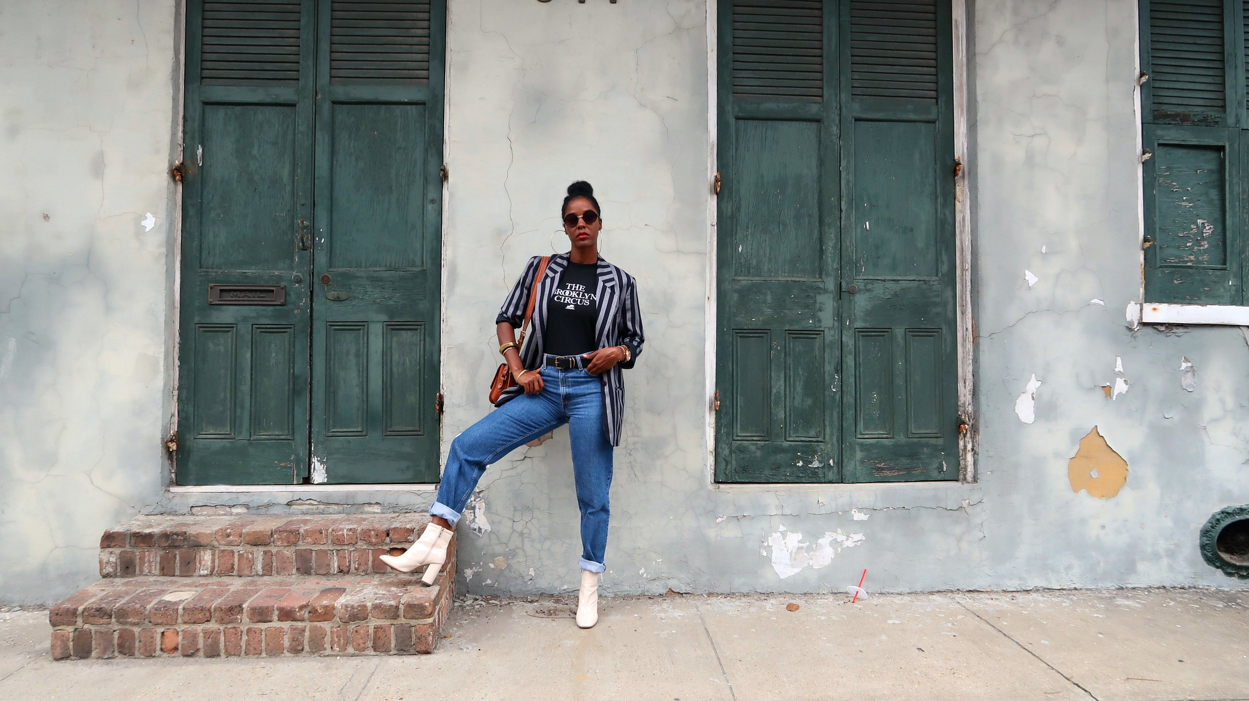 Brooklyn Circus tee + 90's striped blazer
