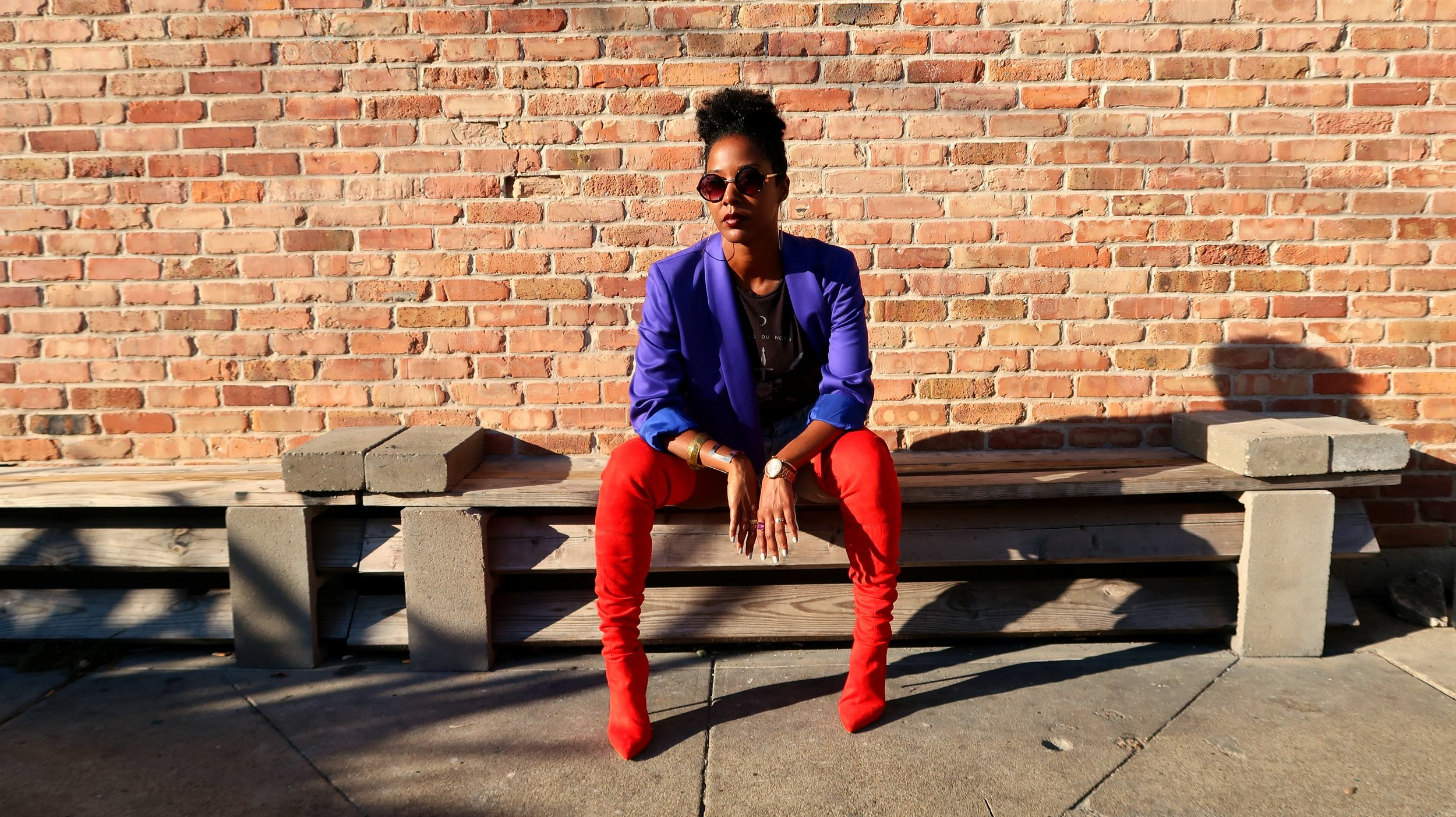 Vintage purple blazer and over-the-knee red boots