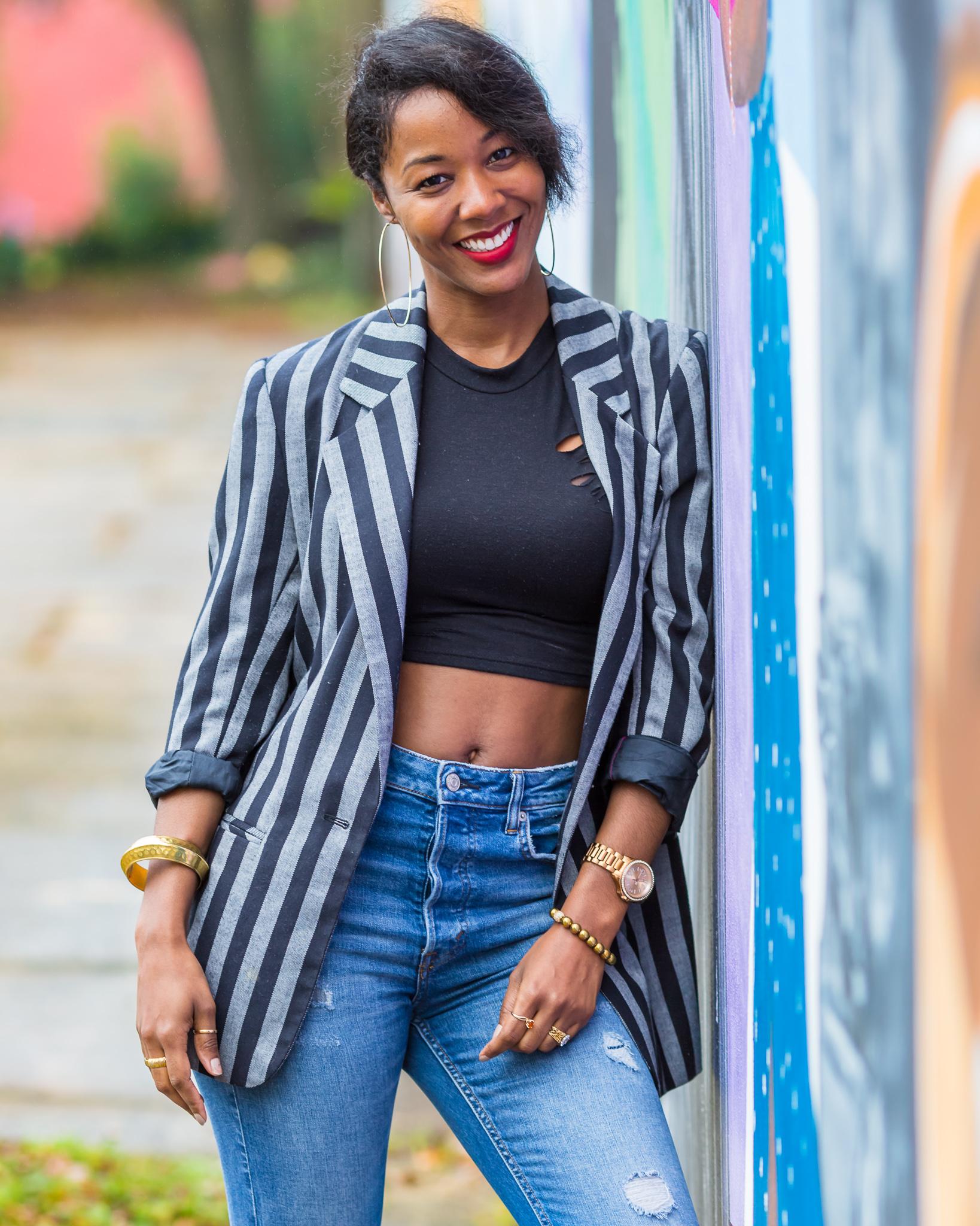 Gray and Black Stripe Vintage Blazer