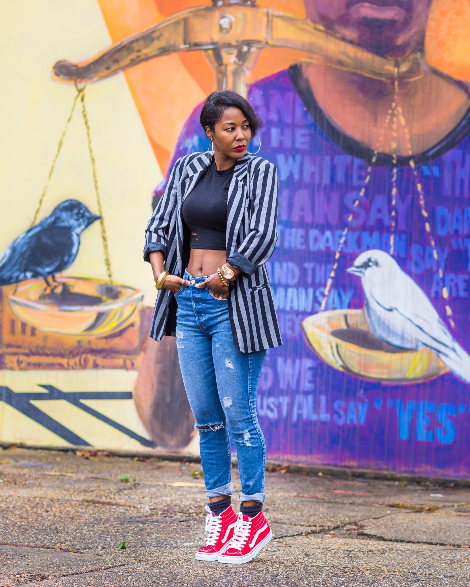 Red Vans with Vintage Blazer and Jeans