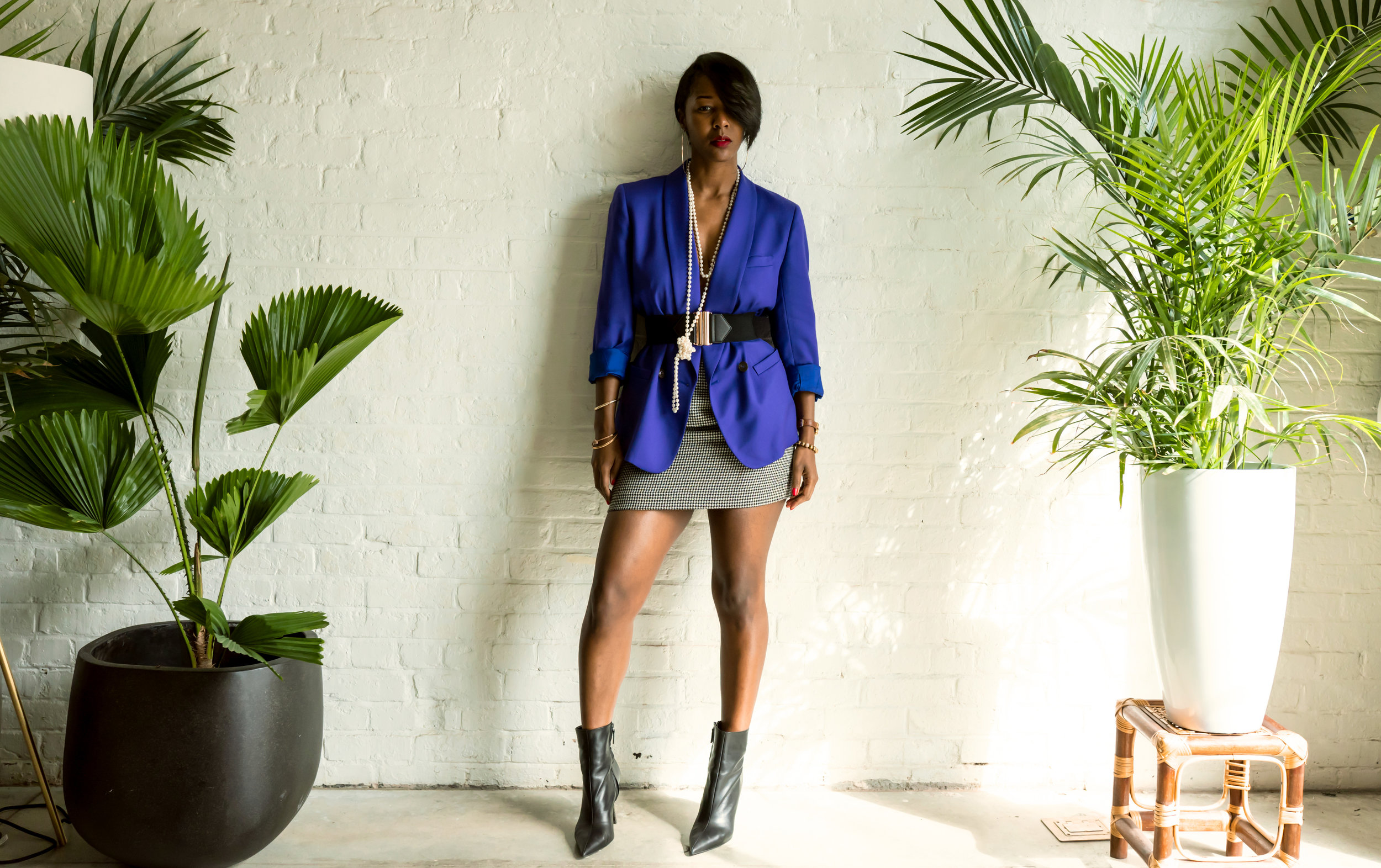 Vintage Purple Blazer and Vintage Houndstooth Skirt