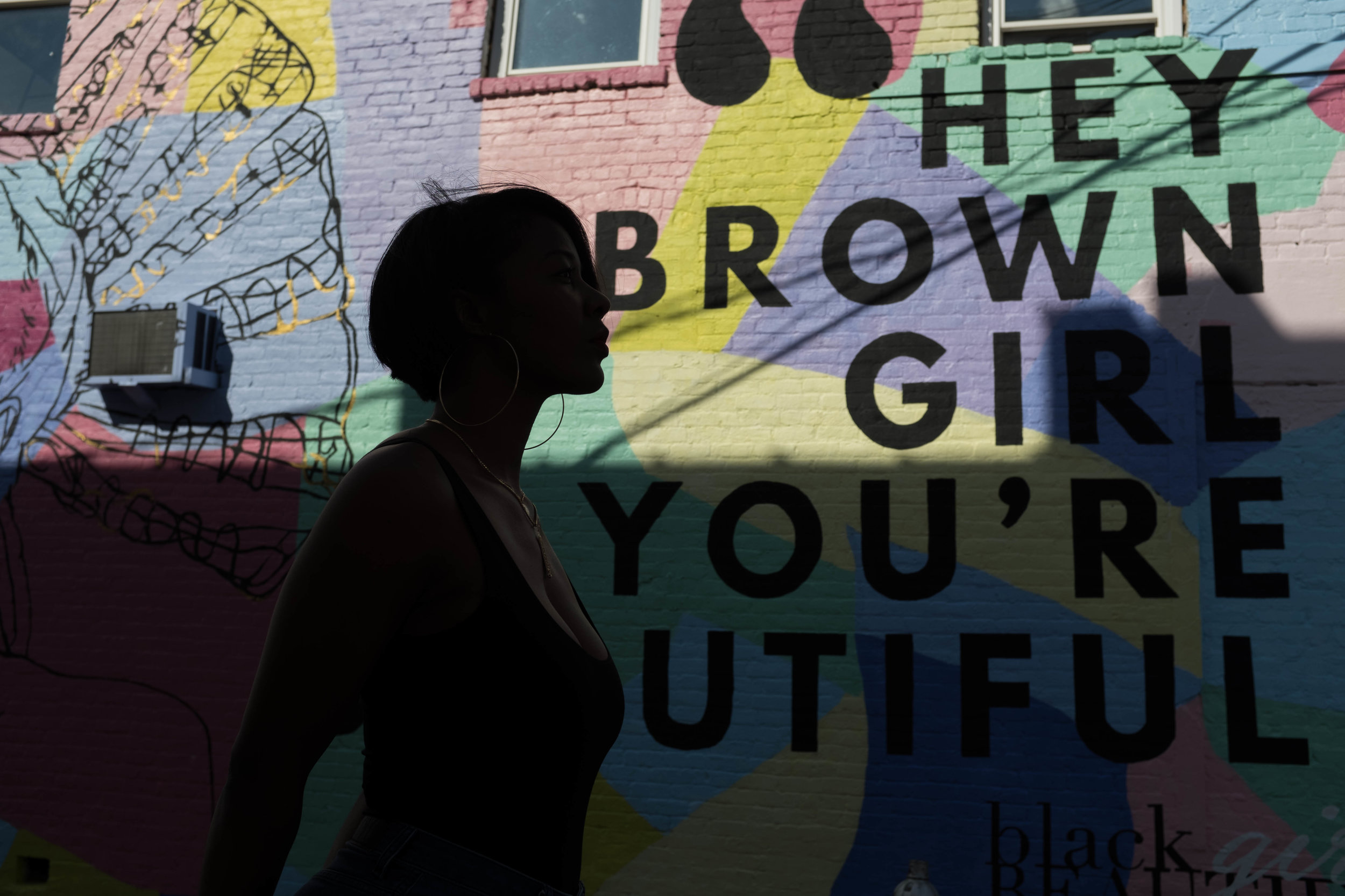 Hey Brown Girl You're Beautiful Mural in Atlanta, GA