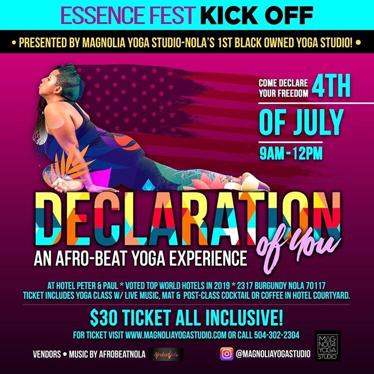 Magnolia Yoga Studio Essence Fest Kick Off Party