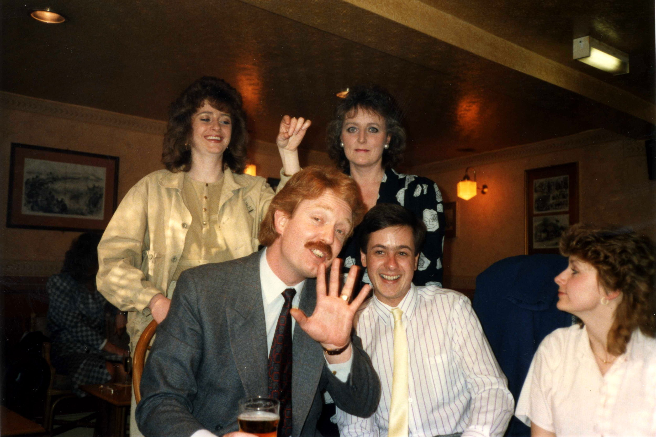 Out with Hill Samuel work colleagues, 1987