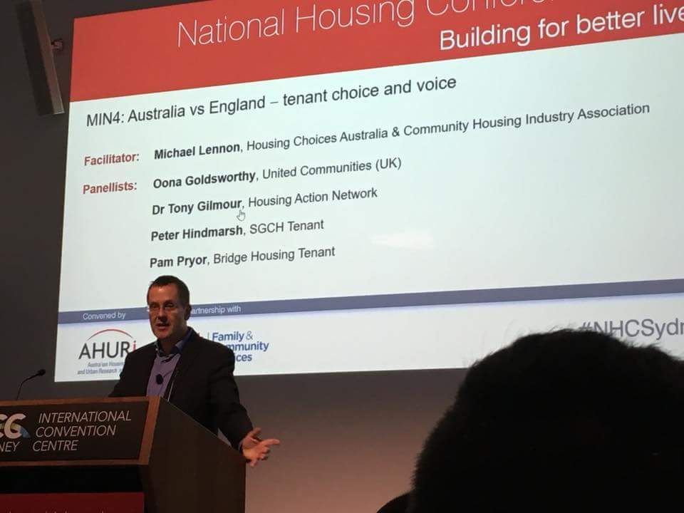 Tony presenting on tenant choice and voice at the National Housing Conference. The role was to talk about tenant participation in Australia, which with his strong northern English accent might have been a little confusing to some in the audience ...