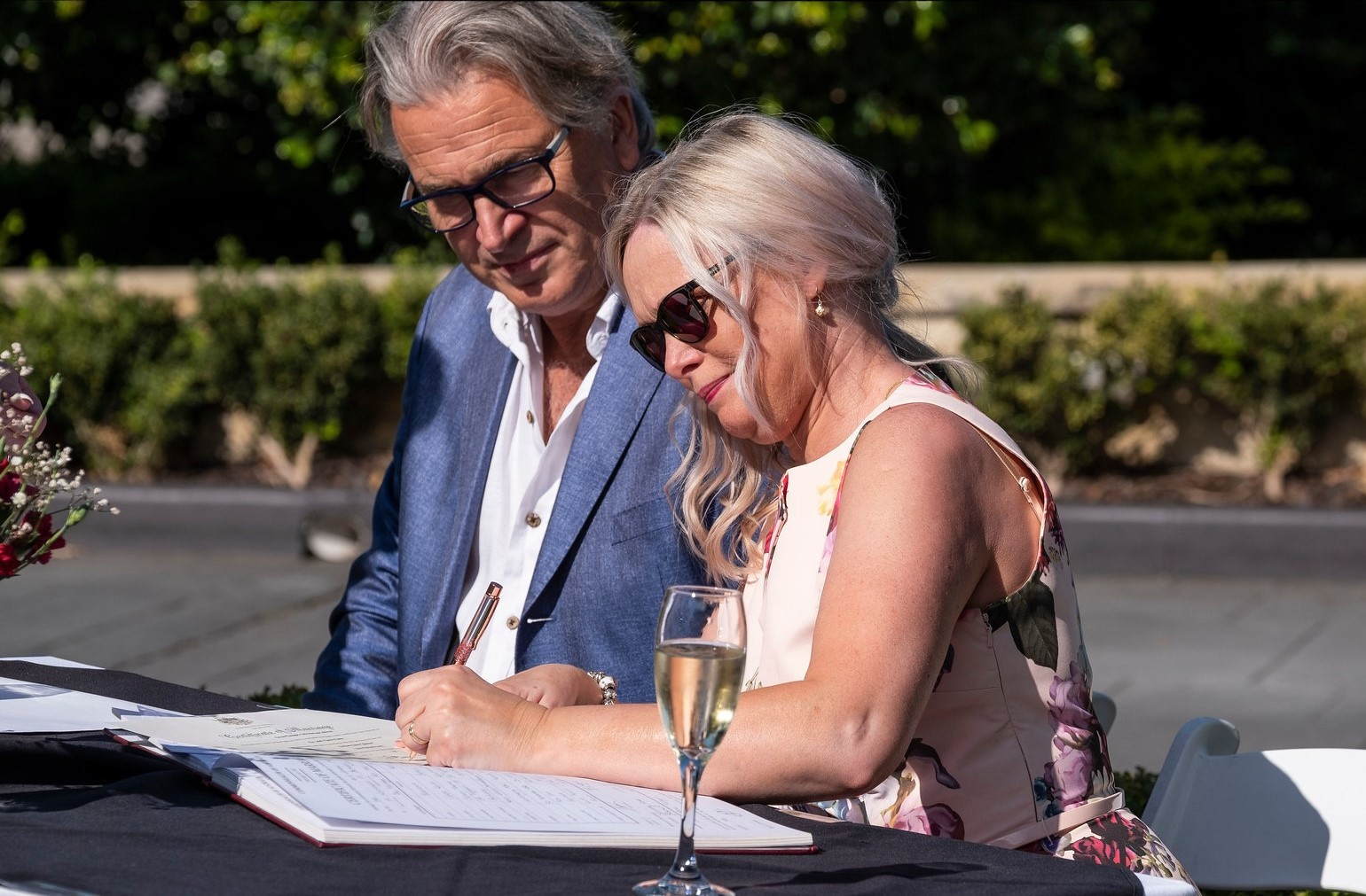 Andy and Joanne witness the wedding signatures