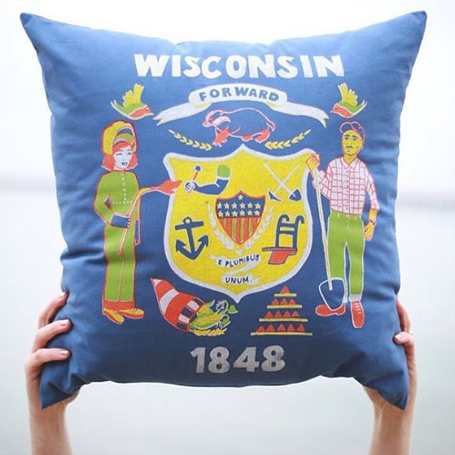 Wisconsin Flag Pillow (collaboration with Cortney Heimerl)